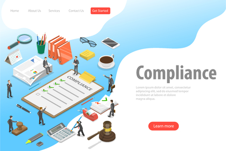 Flat isometric vector landing page template of regulatory compliance. Illustration