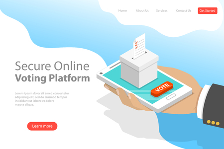 Flat isometric vector landing page template of voting online, e-voting. Ilustrace