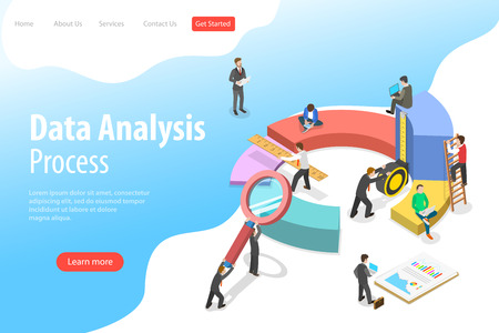 Flat isometric vector landing page template of business statistics and analytics Illusztráció