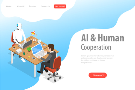 Flat isometric vector landing page template of robot and human cooperation.