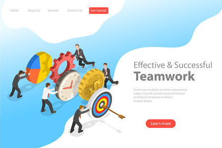 Flat isometric vector landing pate template of effective teamwork. Vettoriali
