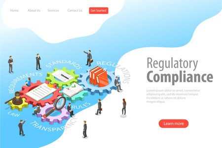 Flat isometric vector landing page template of regulatory compliance. 向量圖像