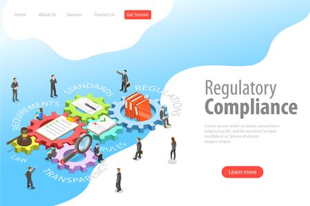Modello di pagina di destinazione vettoriale isometrico piatto di conformità normativa.