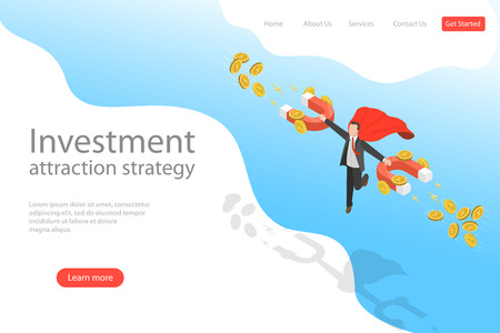 Isometric flat vector landing page template of investment attraction strategy.