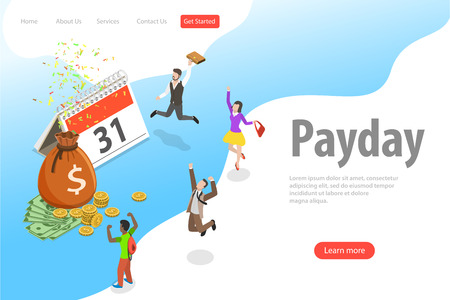 Flat isometric vector landing page template of salary, payout, bonus.
