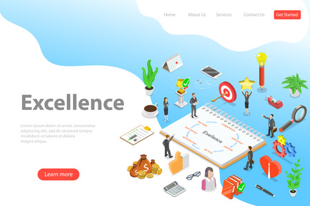 Isometric vector landing page template of business excellence.