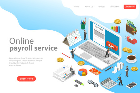 Payroll flat isometric vector landing page template of salary payment, financial calendar, expenses calculator.