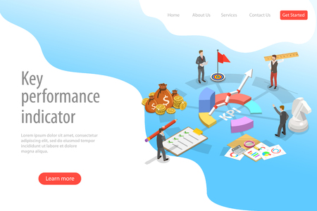 Key performance indicator flat isometric vector landing page template. Illustration