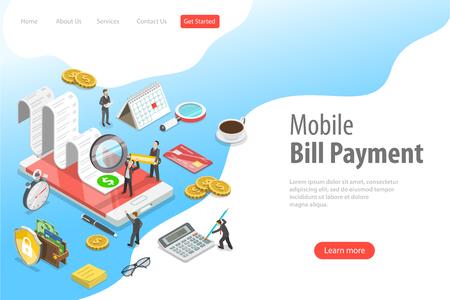 Plantilla de página de destino de vector plano isométrico de pago de facturas en línea, compras.