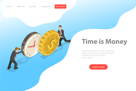 Flat isometric vector landing page template for time is money, income growth.