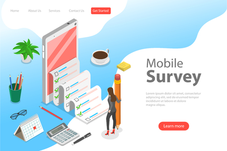 Flat isometric vector landing page template of mobile survey, customer review.
