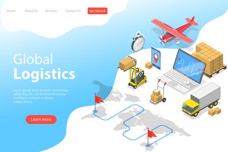 Platte isometrische vector bestemmingspagina sjabloon van wereldwijde logistiek, wereldwijde vrachtverzending, snelle levering.