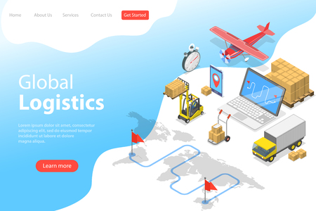 Flat isometric vector landing page template of global logistics, worldwide freight shipping, fast delivery.