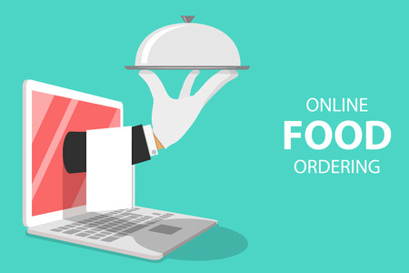 Isometric flat vector concept for online food ordering, home delivery, restaurant reservation.