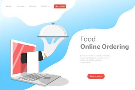 Isometric flat vector landing page template for online food ordering. Illustration