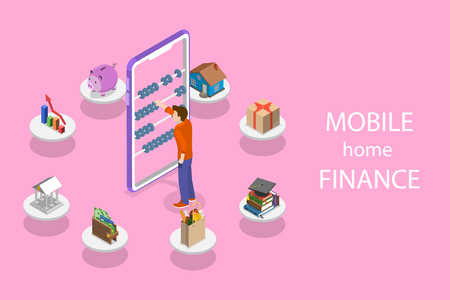Isometric flat vector concept of personal home finance, budget planning, online shopping, banking and bill payment.