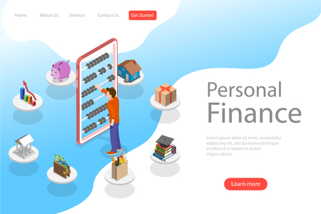 Isometric flat vector landing page template of personal home finance. Illustration