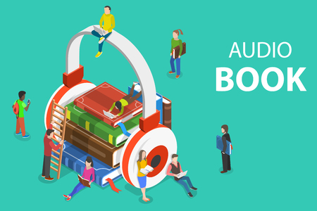 Isometric flat vector concept of audio book, education, literature listening. Иллюстрация