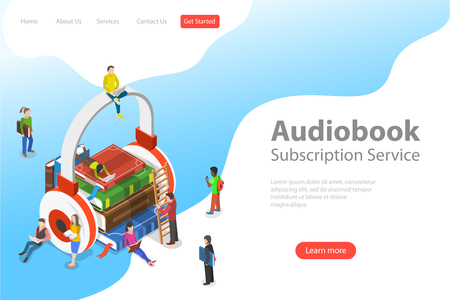 Isometric flat vector landing pate template of audiobook, education. Ilustracja