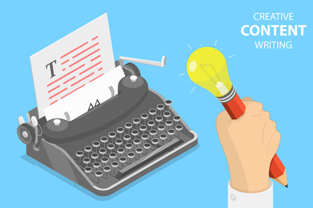 Flat isometric vector concept of creative writing, copywriting.