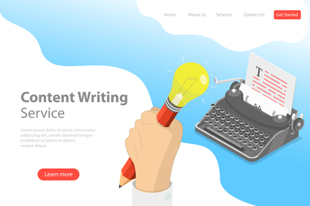 Flat isometric vector landing page template of creative writing, copywriting.