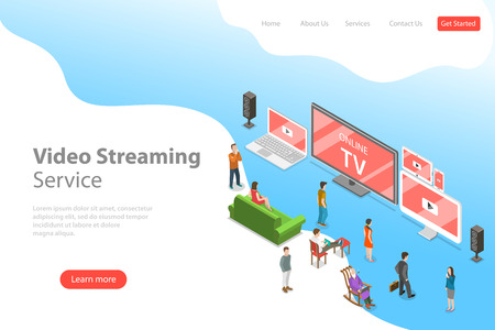 Isometric flat vector landing page template of smart TV, home entertainment.