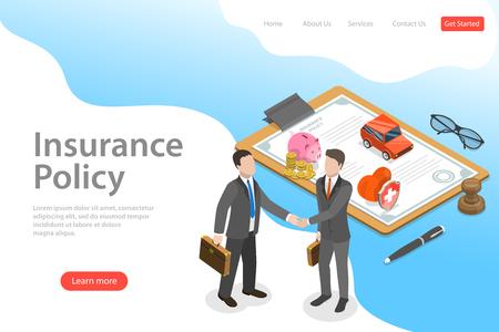 Modèle de page de destination de vecteur plat isométrique de contrat d'assurance, politique.