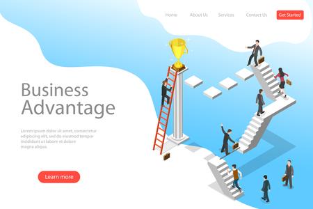 Plantilla de página de destino de vector plano isométrico de ventaja empresarial.