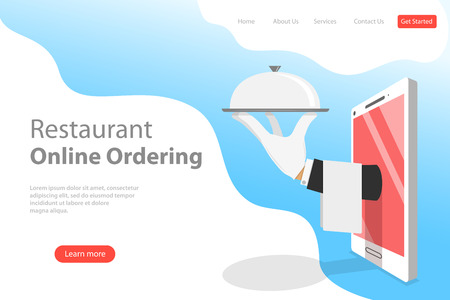 Flat vector landing page template of table online reservation, mobile booking.