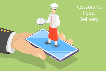 Flat isometric vector concept of table online reservation, mobile booking, food ordering and delivery.
