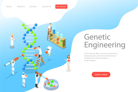Isometric flat vector landing page template of genetic engineering.
