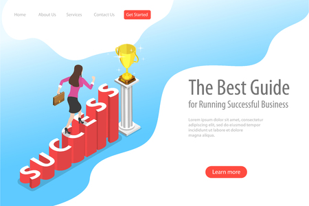 Isometric flat vector landing page template of success.