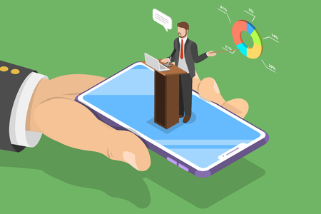 Isometric flat vector concept of online conference, business meeting, webinar, group training.