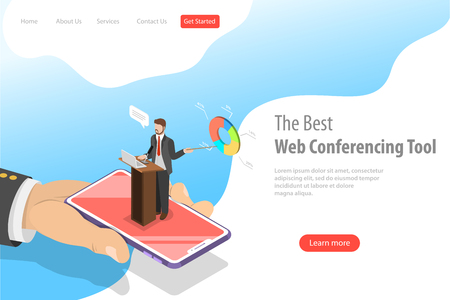 Isometric flat vector landing pate template of online conference. Ilustrace