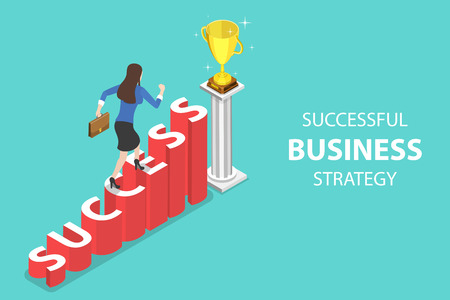 Isometric flat vector concept of success, competition.