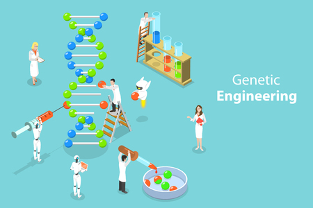 Isometric flat vector concept of genetic engineering, DNA structure changing, medical, biological and molecular research. Stock Illustratie