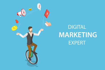 Isometric flat vector concept of digital marketing expert, seo.