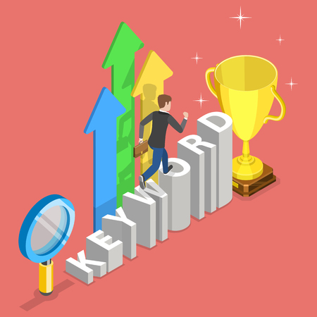 Flat isometric vector concept of tracking tool for keyword SEO ranking.