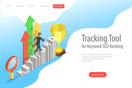 Flat isometric vector landing page template of tracking tool for keyword ranking Illustration