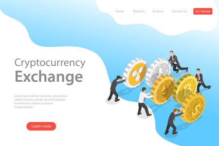 Flat isometric vector landing page template of cryptocurrency exchange. Stock Vector - 122128545