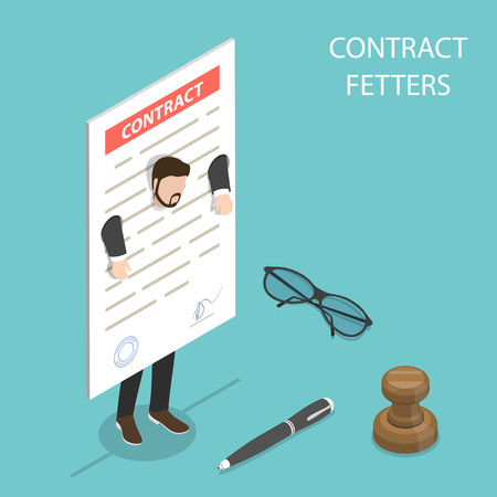 Flat isometric vector concept of contract fetters, business obligations. Illustration