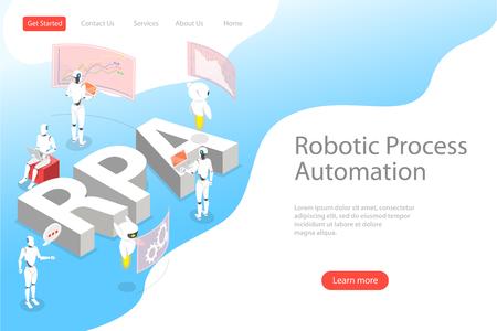 Isometrische flache Vektor-Landing-Page-Vorlage der Roboterprozessautomatisierung.