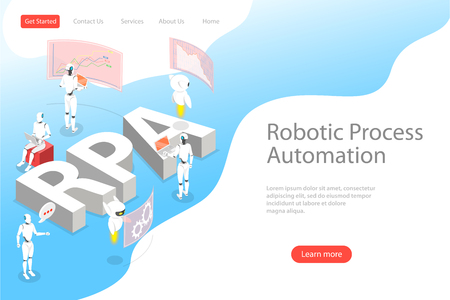 Plantilla de página de destino de vector plano isométrico de automatización de procesos robóticos.