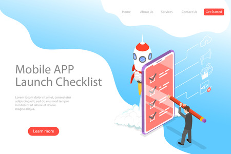Flat isometric vector landing page template for mobile app launch checklist.