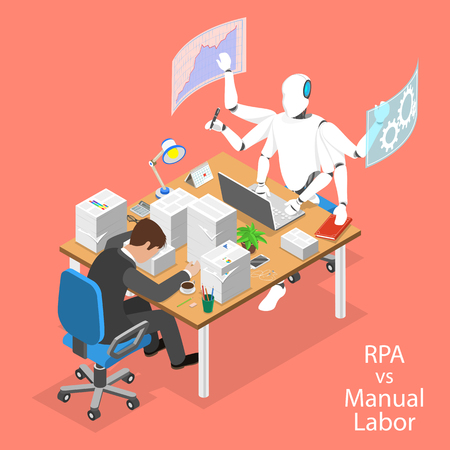 Isometric flat vector concept of RPA vs manual labor. 矢量图像