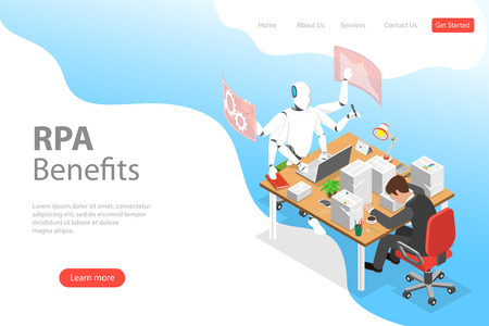 Isometric flat vector landing page template of RPA vs manual labor.