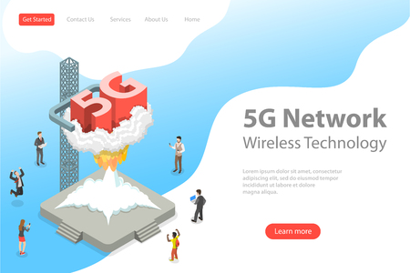 Isometric flat vector landing page template of 5G , global wireless network.