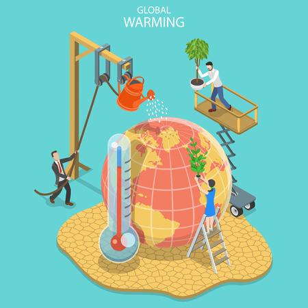Isometrische platte vector concept van opwarming van de aarde, klimaatverandering.