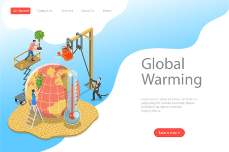 Isometric flat vector landing page template of global warming, climate change.