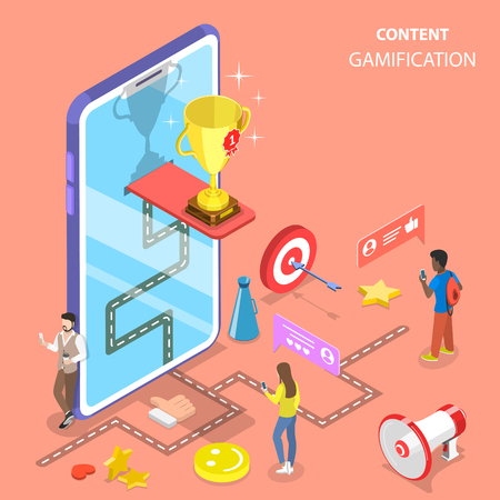 Isometric flat vector concept of gamification, interactive content, customer engagement.
